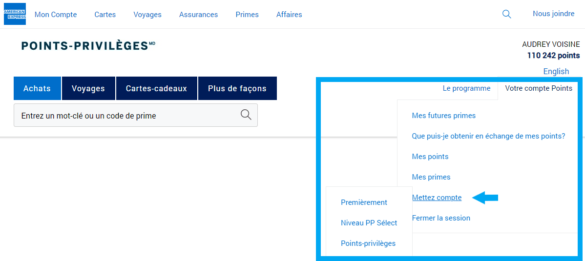 amex consulter points comptes